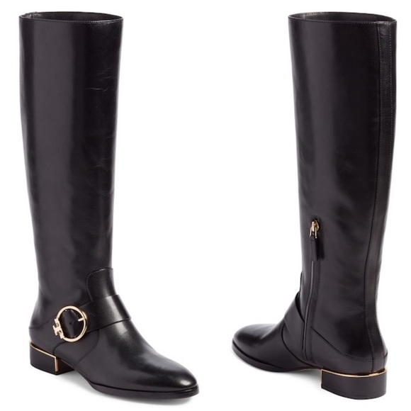 b4d6ac77a32b Tory Burch Sofia Buckled Black Leather Riding Boot